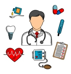 Sketched medical icons and doctor vector image