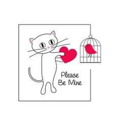 cute cat and bird valentine vector image