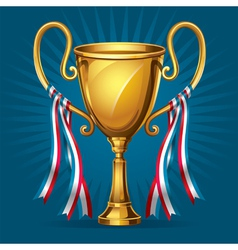 Golden award trophy and ribbon vector image vector image
