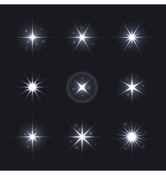 Light Glow Flare Stars Effect Set vector image