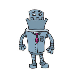 sad business robot character in suit and tie vector image