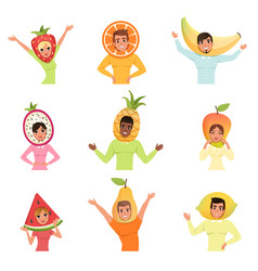 set of men and women in different fruit hats vector image