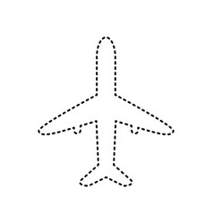 airplane sign black dashed vector image