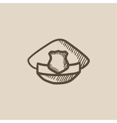 Policeman hat with badge sketch icon vector image