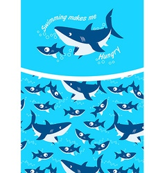 Swimming makes me hungry repeat pattern background vector image vector image