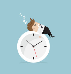 businessman sleeping on clock vector image