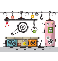 line of production factory interion with cogs vector image