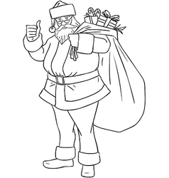 Santa Claus With Bag Of Presents For Christmas vector image vector image