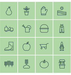 Set of 16 garden icons includes agrimotor cereal vector