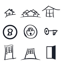 Set of nine realestate logos vector image vector image