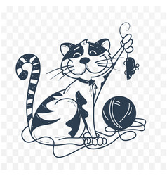 silhouette black and white of funny cat vector image