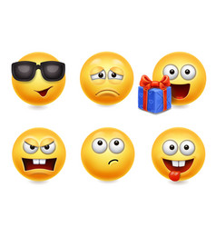 smiley face icons funny faces 3d collection 4 vector image vector image