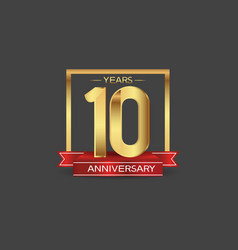 10 years anniversary logo style with golden vector
