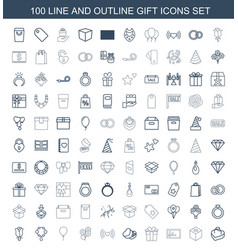 100 gift icons vector image