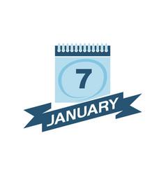 7 january calendar with ribbon vector