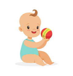adorable smiling baby sitting and playing with a vector image