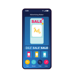 Advertising maker smartphone interface template vector