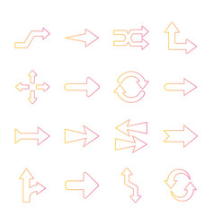 Arrows gradient style icons collection vector