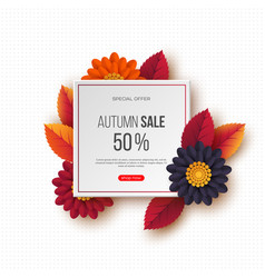 autumn sale banner with 3d leaves flowers and vector image