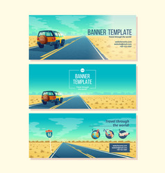 Banner template with tourist concept vector