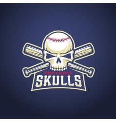 Baseball Team Logo Template Skull and Crossed vector