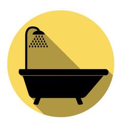 bathtub sign flat black icon with flat vector image