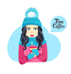 beautiful young girl in a winter hat with a fluffy vector image