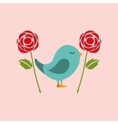 bird flower nature vector image