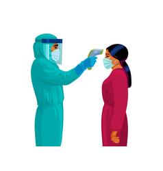 Body temperature check male medicholding infrared vector