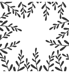 border with black branches and leaves vector image
