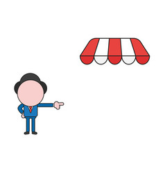 Businessman character pointing store with awning vector