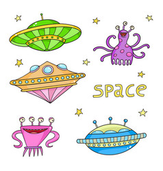 Card with space objects - ufo rockets aliens and vector