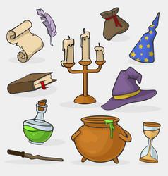 cartoon color magician tools wizard icon set vector image