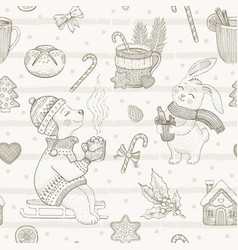 Christmas cute cafe dessert seamless pattern vector