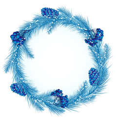 Christmas wreath in blue vector