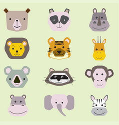 collection cute animal faces icon set for baby vector image