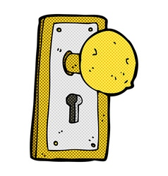 comic cartoon old door knob vector image