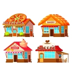 Country Shop Storefronts Set vector