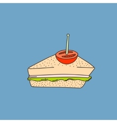Cute hand-drawn cartoon style sandwich vector image