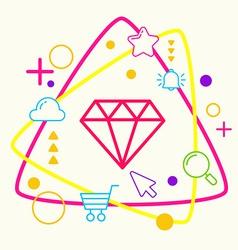 Diamond on abstract colorful geometric light vector image