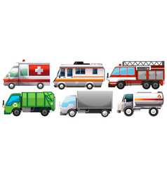Different types of service trucks vector