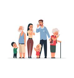 family with virus coronavirus disease symptoms vector image