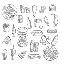 Fast food snacks and takeaway drinks vector