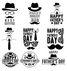 fathers day label set design black and white vector image