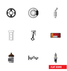 flat icon component set of steels shafts metal vector image