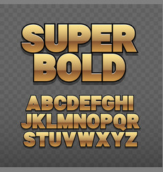 font alphabet gold style sanserif with long vector image
