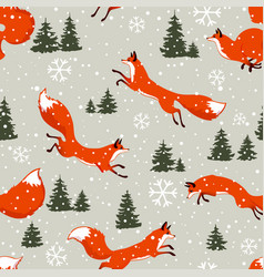 fox seamless winter vector image