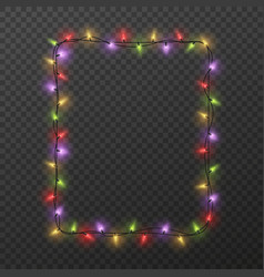 frame with light garland christmas square border vector image