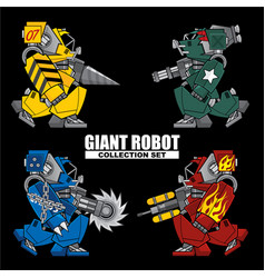 Giant robot collection set vector