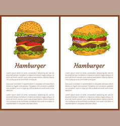 hamburger meal posters set vector image